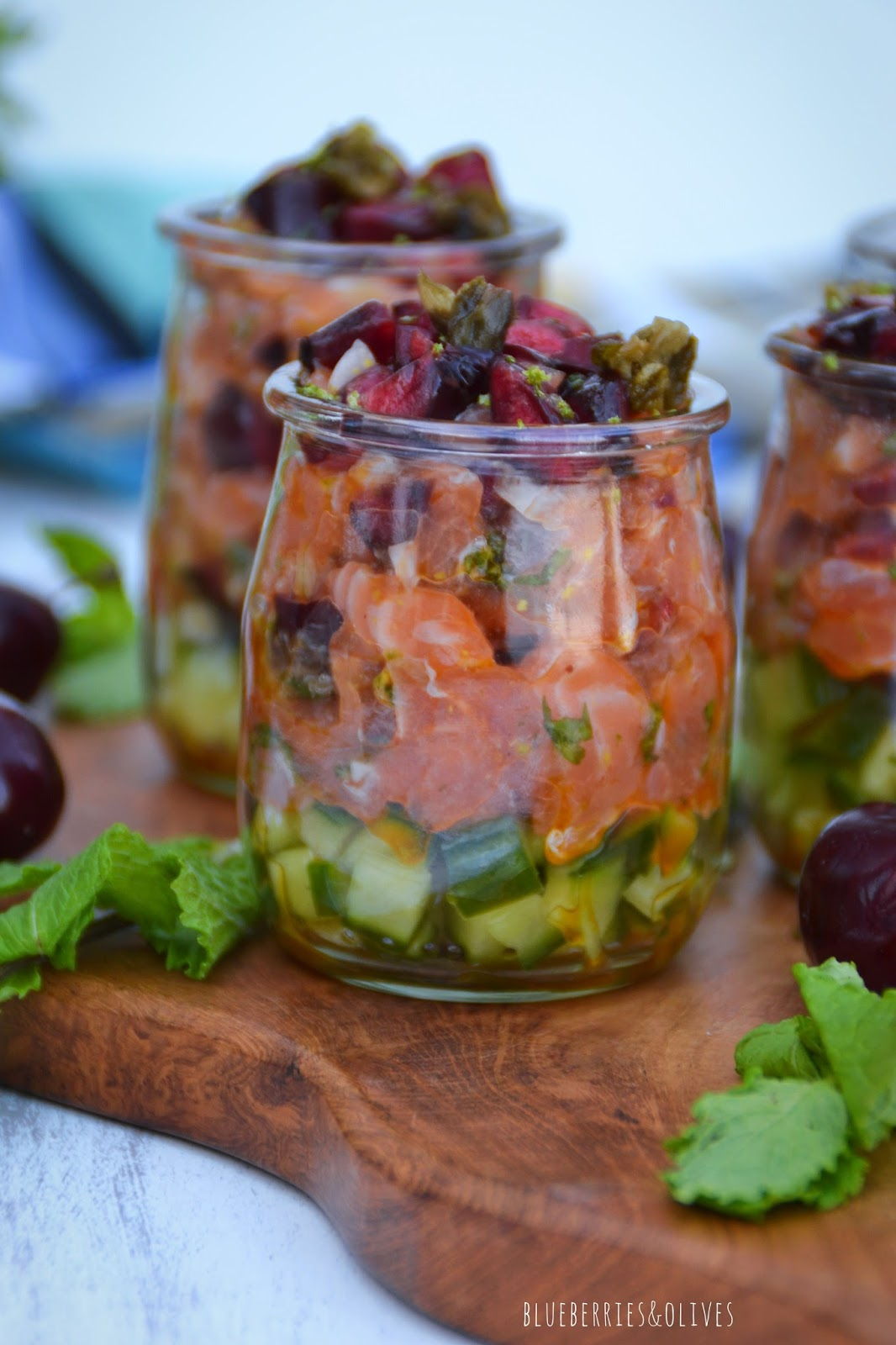 SALMON, CHERRIES AND MINT TARTARE
