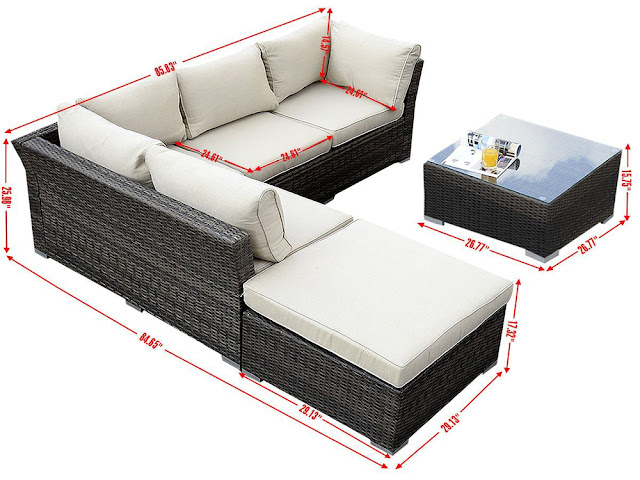 Giantex 6pc patio sectional furniture pe wicker rattan for Outdoor sectional sofa dimensions