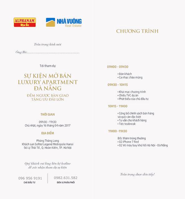 Vé mời sự kiện mở bán Luxury Apartment Đà Nẵng
