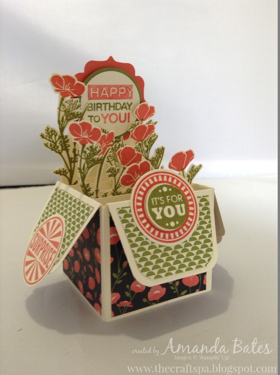 Wild About Flowers Amazing Birthday Gift Bag Punch Board Small Box Card 2