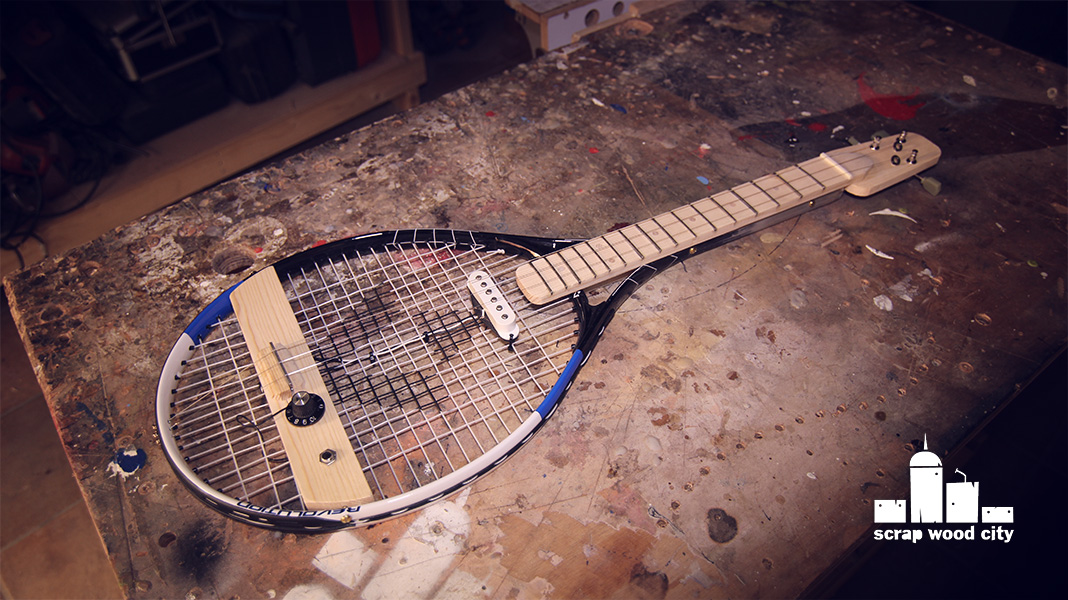 scrap wood city how to make a 3 string electric guitar from a cheap tennis racket. Black Bedroom Furniture Sets. Home Design Ideas