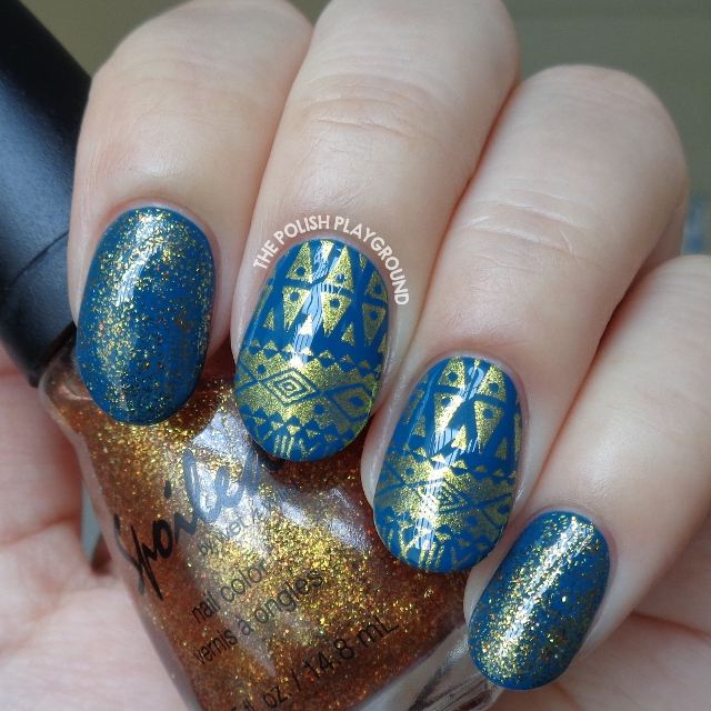 Teal with Gold Aztec Inspired Stamping Nail Art