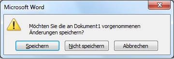 Word - ScreenShot Dialogfenster Speichern