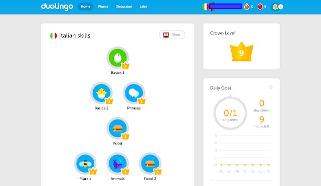Italština pro samouky - mých 5 vyzkoušených tipů - aplikace Duolingo
