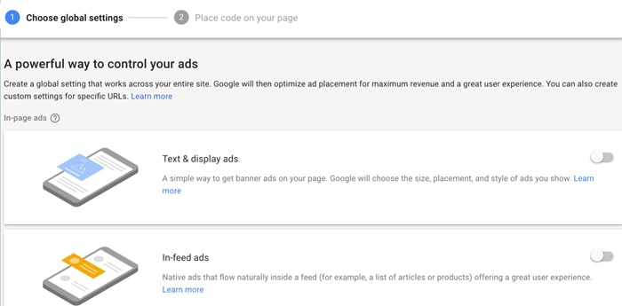 Auto ads formate enable or disable