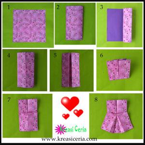 Inilah cara mudah membuat origami baju gaun