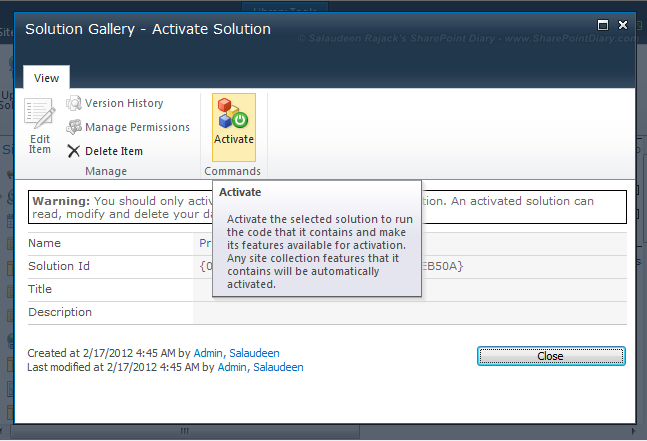 activate sandboxed solution sharepoint 2010