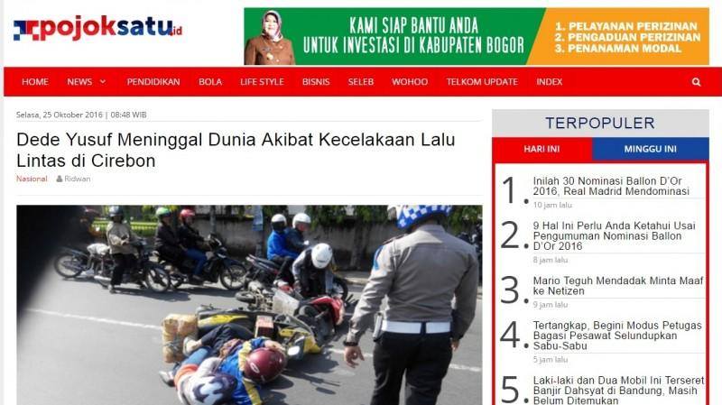 Berita Dede Yusuf meninggal di Radar Cirebon
