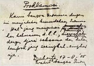 Teks naskah Proklamasi asli tulisan tangan dari Ir. Soekarno
