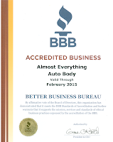 2014 BBB Better Business Bureau Accreditation for Almost Everything Autobody