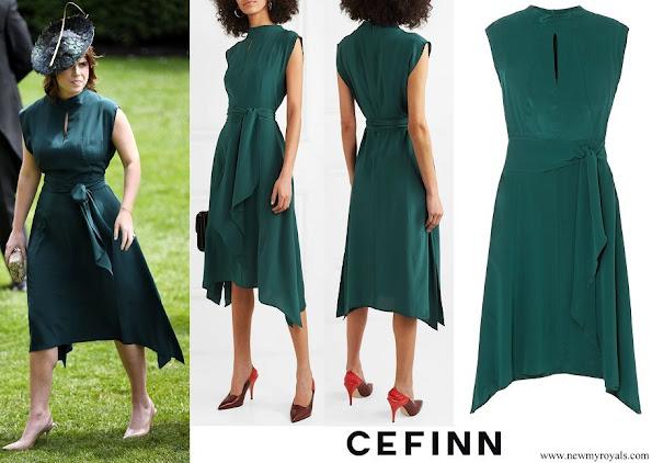 Princess Eugenie wore Cefinn Mia belted silk satin midi dress