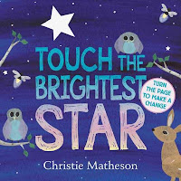 Touch the Brightest Star book cover with and owls, fireflies, and a dear with a nighttime background