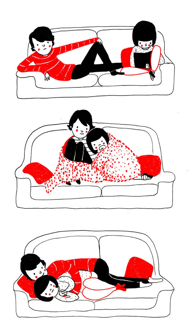 Heartwarming Illustrations Show That True Love Is In The Little Everyday Things - It's when you know your favorite cuddling positions