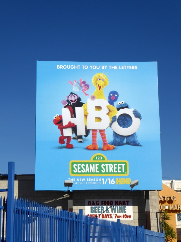 Sesame Street Brought to you by the letters HBO billboard