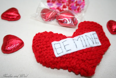 Knitted Valentine Heart Pouch