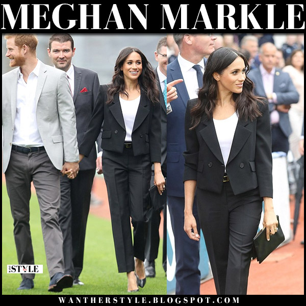 Meghan Markle in black jacket and black trousers givenchy royal family fashion july 11
