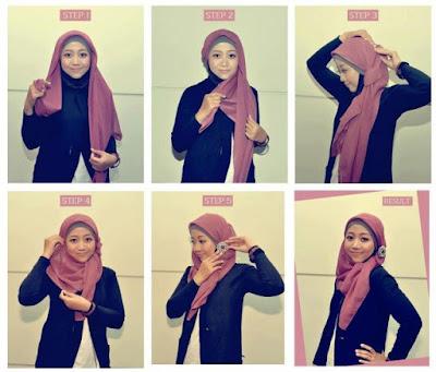 hijab segi empat model pita