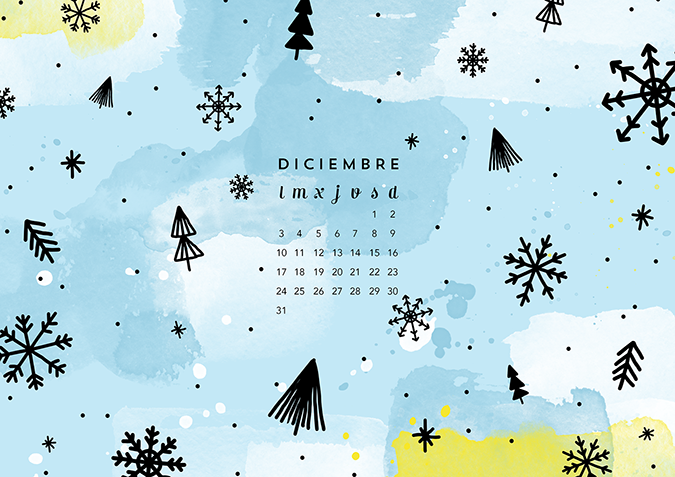 Calendario Diciembre: Imprimible Y Fondo
