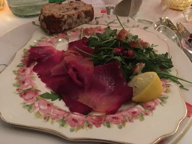 Gin infused smoked salmon with pomegranate and rocket - Christabels