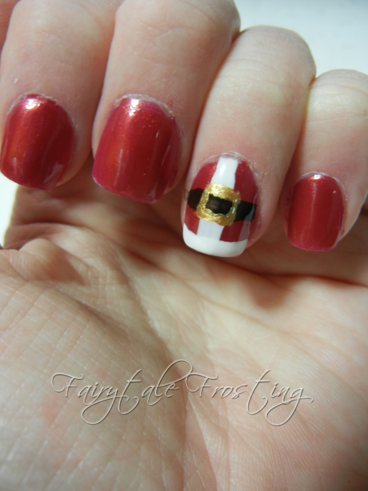 Christmas Nail Art French Manicure Red With White: Fairytale Frosting: Holiday Nail Art