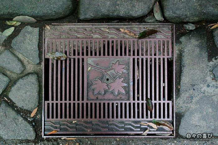 motif plaque d'égoût, bambouseraie d'Arashiyama, Kyoto