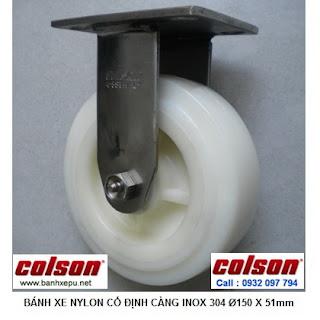 Bánh xe đẩy Nylon càng thép không rỉ inox 304 Colson phi 150 | 64002 www.banhxepu.net