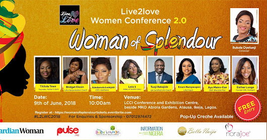 Come listen to Adaku of Jenifa's Dairy, Esther Longe, AskDamz & Lola Tewe Speak at WOMAN OF SPLENDOUR for 9th of June,