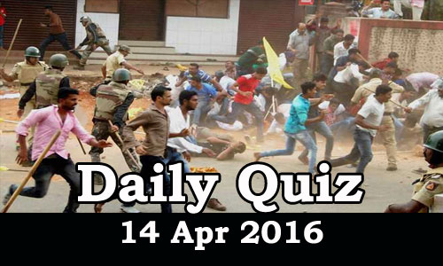 Daily Current Affairs Quiz - 14 Apr 2016