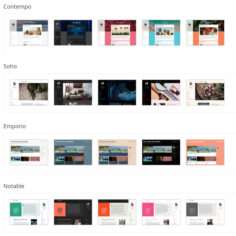 Bloggerの2017年の公式テーマ:ContempoとSohoとEmporioとNotable(各五色ずつの二十種類)