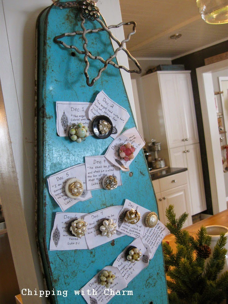 Chipping with Charm: Christmas in the kitchen, ironing board advent tree...http://www.chippingwithcharm.blogspot.com/