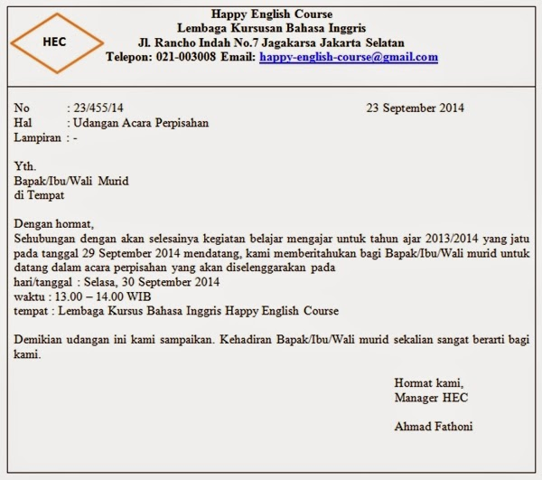 Contoh Surat Resmi Sekolah English Surat Pp