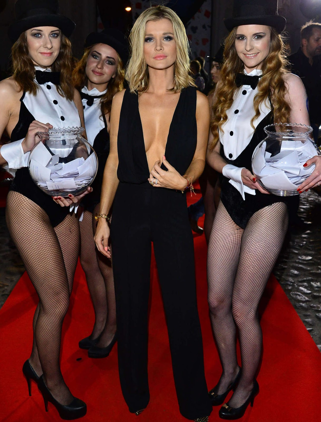 Joanna Krupa in a plunging jumpsuit at the 2015 Playboy Car of the Year event