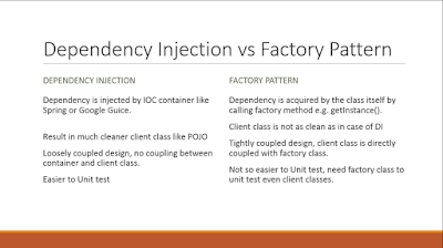 Difference between Factory pattern and dependency injection