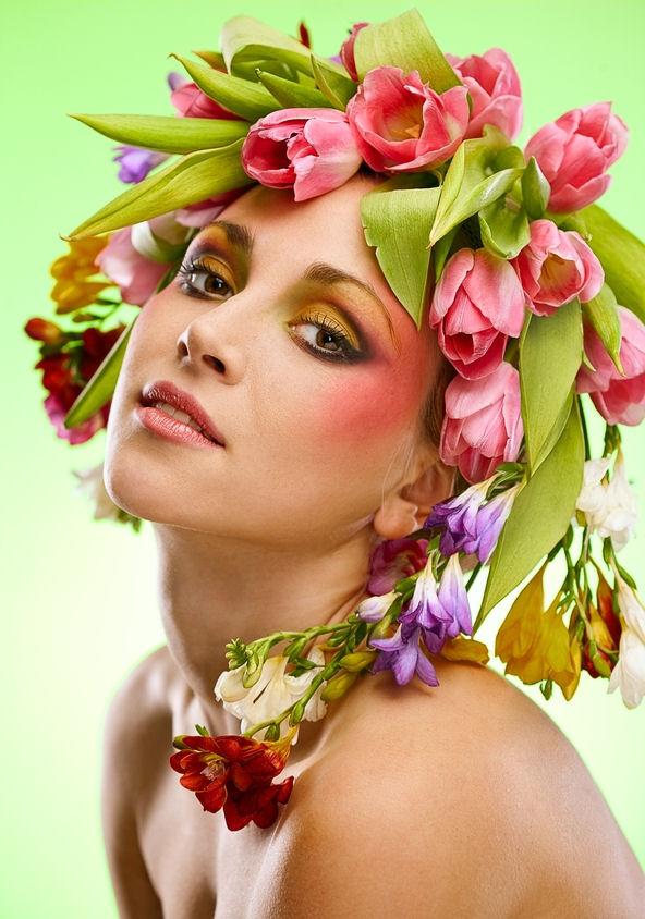 Idool Rostros De Mujeres Con Flores Belleza Femenina Beauty