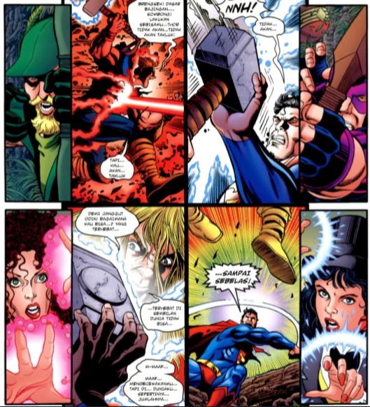 pertarungan ini menunjukan superman lebih kuat