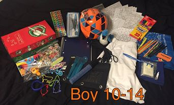 10 to 14 year old boy OCC shoebox.