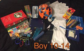 10 to 14 year old boy OCC shoebox.