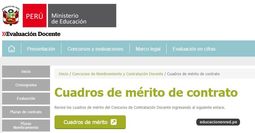 MINEDU publicó Cuadros de Mérito para Contrato Docente 2018 - 2019 - UGEL y DRE (.PDF) www.minedu.gob.pe