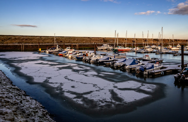 Photo of patches of snow and ice at Maryport Marina (Ravensdale is on the far end of the second pontoon)