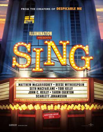 Poster Of Sing 2016 English 700MB   Free Download Watch Online 300mb.cc