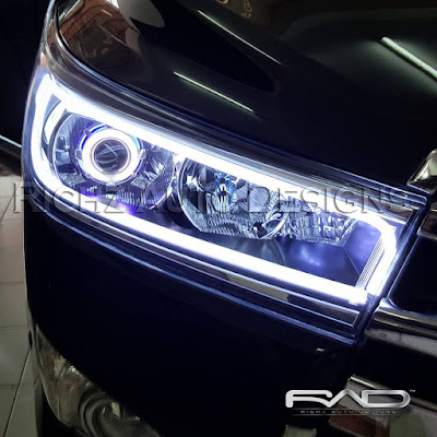 innova 2016 custom projektor angel eyes + HID + DRL LINE