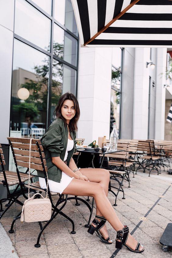 Viva Luxury - Green Bomber Jacket, Chanel Bag, Isabel Marant Studded Sandals