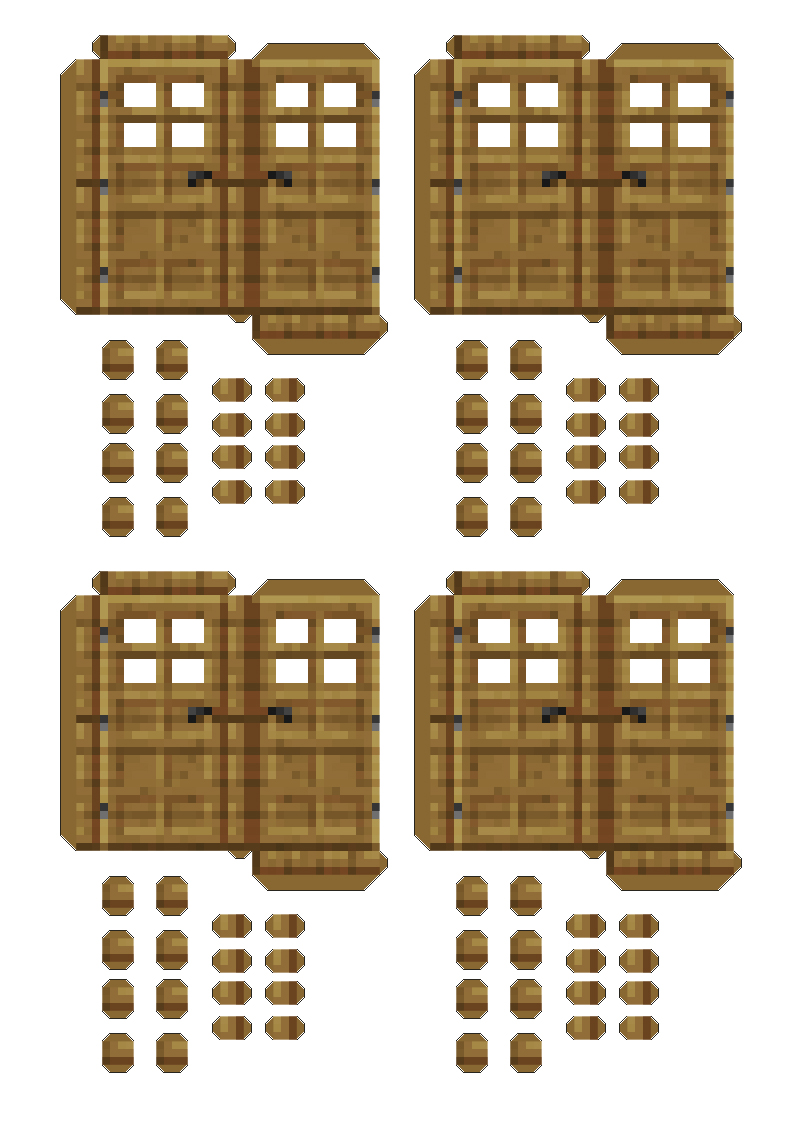 Mini at least papercraft minecraft vii madera y puerta for Materiales para hacer una puerta