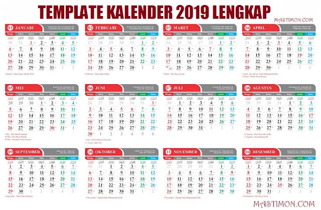 Gratis Kalender 2019 Lengkap Hijriyah Dan Jawa Format Cdr
