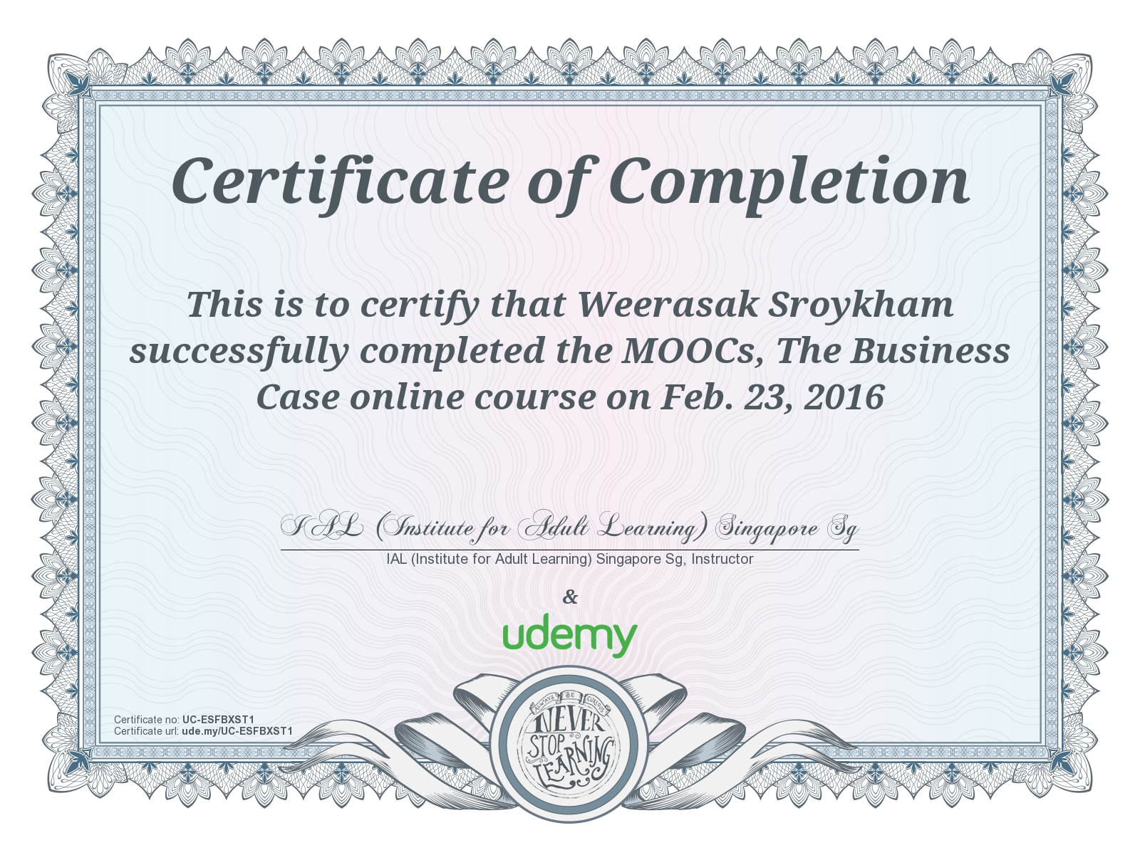 Moocs The Business Case Onlinecourse Certificate Of