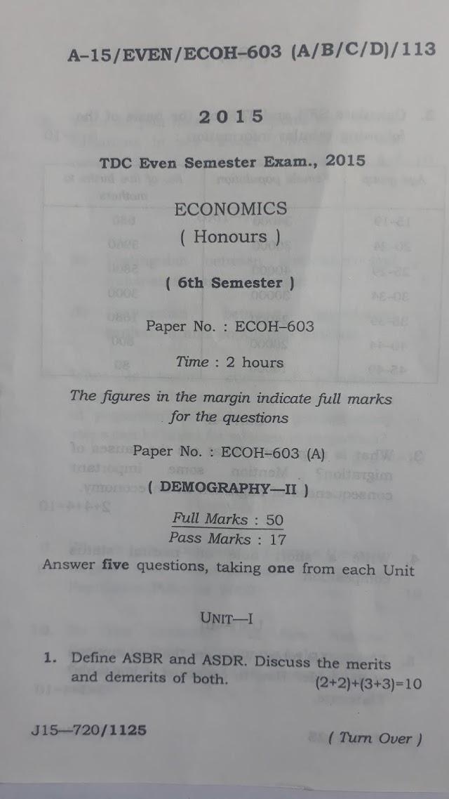 6th Semester Economic Honours Question Paper 2015 Assam University Paper ECOH-603