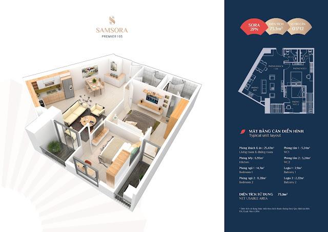 Thiết kế căn hộ 03 & 12: Diện tích 73.11m2