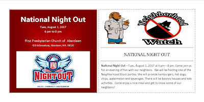National Night Out, Tues, August 1, 2017 6-8 pm at First Presbyterian Church of Aberdeen