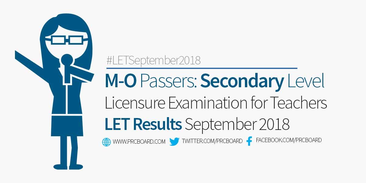 M O Let Passers Secondary September 2018 Teachers Board