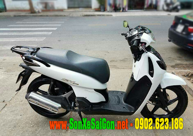 Mẫu sơn xe Honda SH 2008 màu trắng sporty cực đẹp
